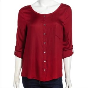 Soft Joie | Kaelyn Button Up Wine Red Blouse